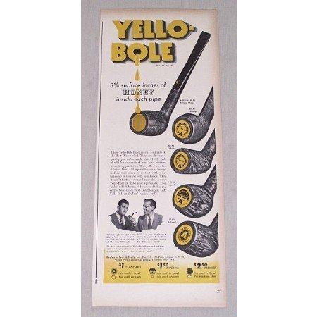 1946 Yello-Bole Honey Smoking Pipes Color Print Ad - 5 Types