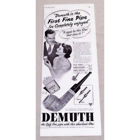 1949 Demuth Smoking Pipes Vintage Print Ad - First Fine Pipe