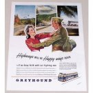 1945 Greyhound Bus Lines Color Wartime Color Print Ad - Happy Ways