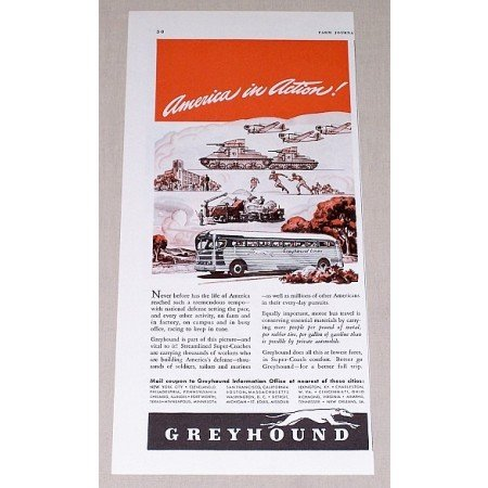 1941 Greyhound Buses Color Wartime Print Ad - In Action