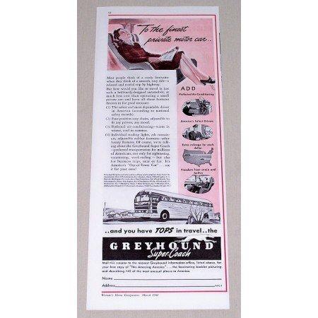 1941 Greyhound Super-Coach Bus Lines Vintage Print Ad
