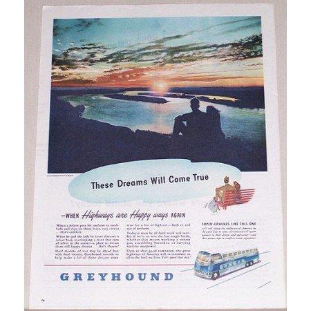 1945 Greyhound Bus Lines Color Print Ad - Dreams Will Come True