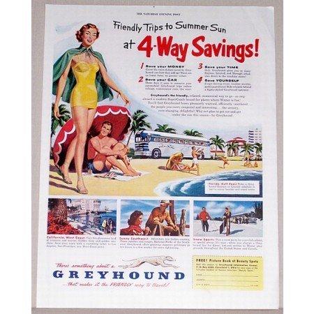 1951 Greyhound Lines Bus Color Print Ad - 4-Way Savings