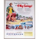 1951 Greyhound Lines Bus Color Print Ad - 4-Way Savings