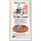 1947 Whizzer Bike Motor Color Print Ad - Ride To Work..