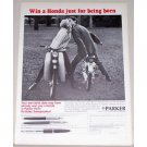 1965 Parker Pens Vintage Print Ad with Honda C-110 CA-102 Motorcycles