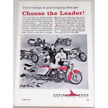 1963 Harley Davidson Motorcycle Vintage Print Ad - Choose The Leader