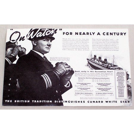 1937 Cunard White Star Lines Ship Vintage Print Ad - On Watch