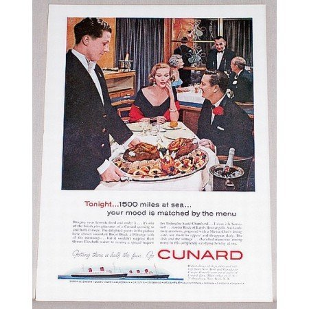 1959 Cunard Cruise Ship Color Print Ad - 1500 Miles At Sea