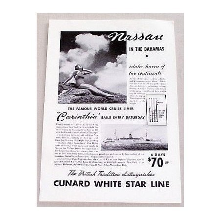 1937 Cunard White Star Lines Carinthia Ship Vintage Print Ad