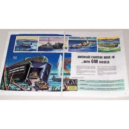 1944 GM Diesel Landing Crafts Ship Color Wartime Ad