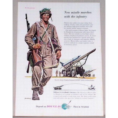 1955 Douglas Aviation Honest John Artillery Rocket Wartime Military Color Print Ad