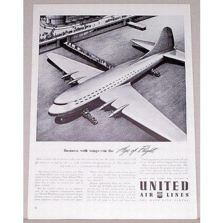 1942 United Air Lines Aviation Vintage Print Ad - Age Of Flight