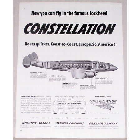 1946 Lockheed Constellation Plane Color Print Ad - Now You Can Fly