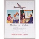 1946 American Airlines Color Print Ad - Holiday or Workday