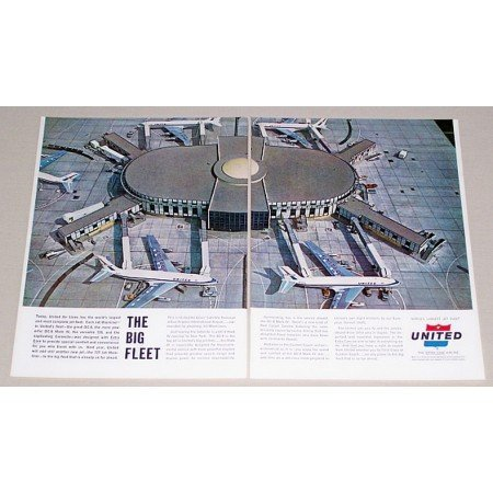 1962 United Airlines Airport 2 Page Color Print Ad - The Big Fleet