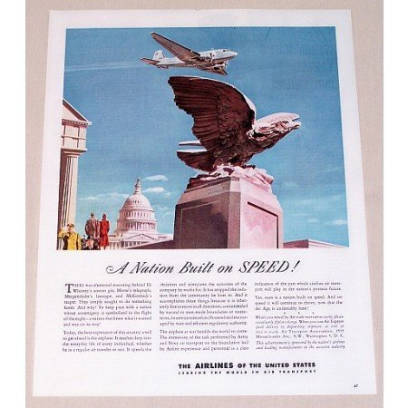 1945 Airlines Of The United States Color Print Ad - A Nation Built On Speed