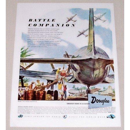 1945 Douglas C54 Refueling Superfortress Plane Color Print Art Ad