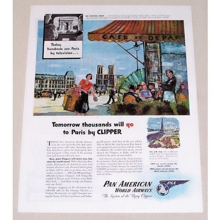 1945 Pan American Airways Color Print Art Ad - Paris By Clipper