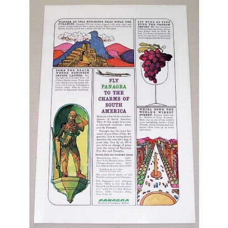1961 Panagra Airlines Color Print Retro Art Ad - Charm Of South America