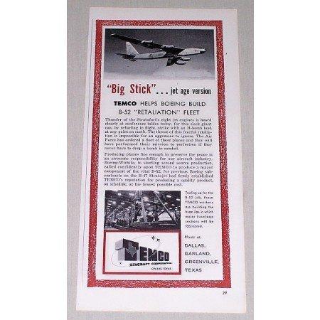 1955 Temco Aircraft Corp Boeing B-52 Fleet Vintage Print Ad