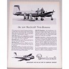 1954 Beechcraft Model C50 Twin Bonanza Aircraft Vintage Print Ad