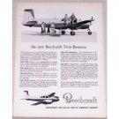 1954 Beechcraft Model C50 Twin Bonanza Aircraft Vintage Print Ad
