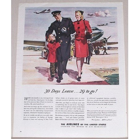 1945 Airlines Of The United States Color Print Art Ad - 30 Days Leave