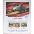 1945 North American Aviation B-25 Mitchell Wartime Color Print Art Ad
