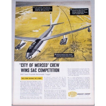 1955 Sperry Gyroscope Boeing B-47 Bomber Color Print Ad