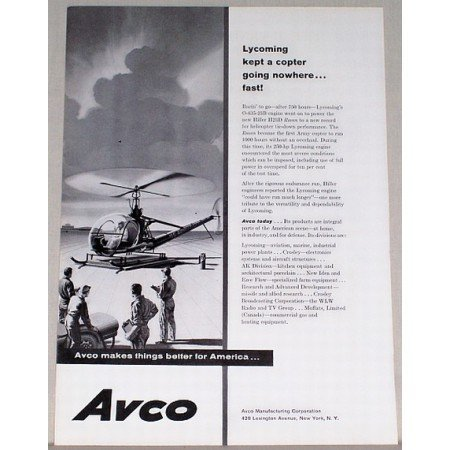 1958 Avco Hiller H23D Raven Helicopter Vintage Print Ad