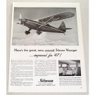 1947 Stinson Voyager Aircraft Vintage Print Ad - Flying Station Wagon