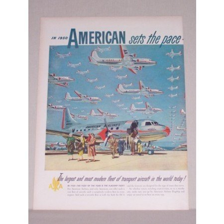 1950 American Airlines 2 Page Color Print Art Ad - Flagship Fleet