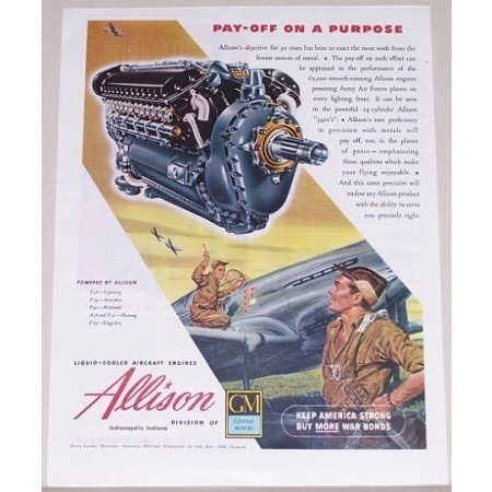 1945 Allison Aircraft Engines Color Wartime Art Color Print Art Ad