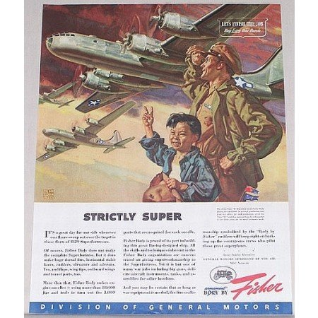 1945 Fisher Wartime B-29 SUPERFORTRESS Aircraft Cornwell Art Color Print Ad