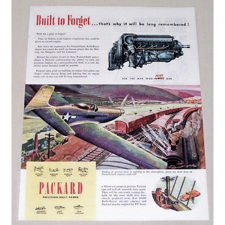 1945 Packard Color AVIATION Wartime Art Color Print Ad ~BUILT TO FORGET