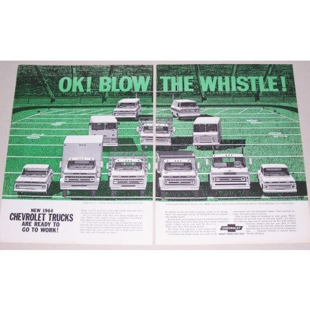 1964 Chevrolet Trucks 2 Page Color Print Ad - Blow Your Whistle