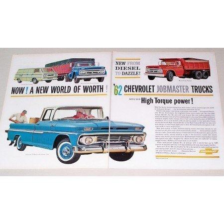1962 Chevrolet Jobmaster Trucks 2 Page Color Print Ad