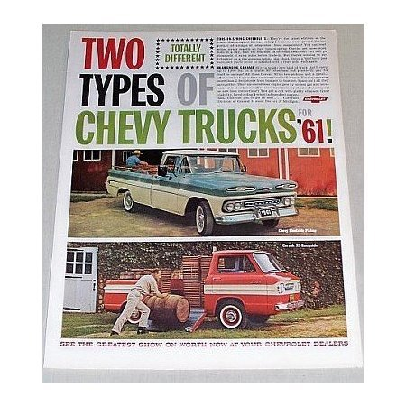 1961 Chevrolet Chevy Trucks Color Print Ad - Fleetside Pickup