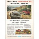 1957 Chevrolet Trucks Color Print Ad - Task Force 57