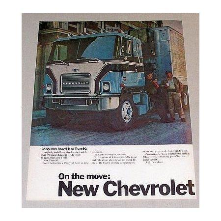 1970 Chevrolet Chevy Trucks Titan 90 Semi 2 Page Color Print Ad
