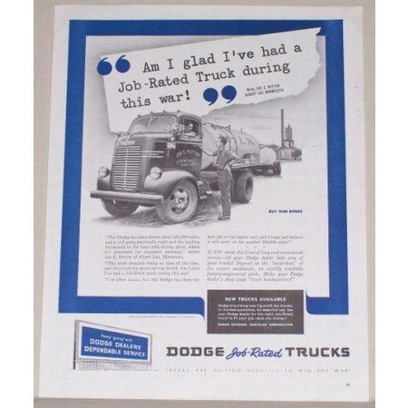 1945 Dodge Job Rated Trucks Milk Truck Vintage Print Ad