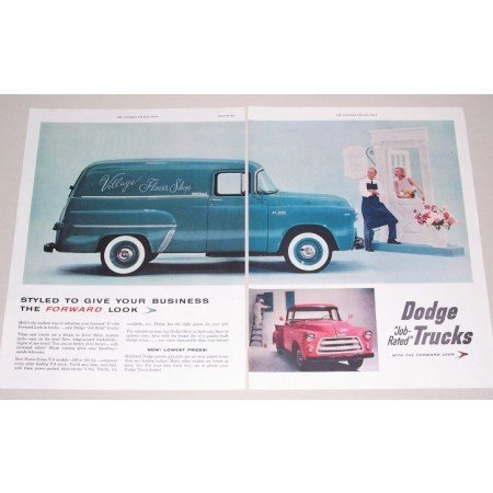 1955 Dodge Town Panel Job Rated Trucks 2 Page Color Print Ad
