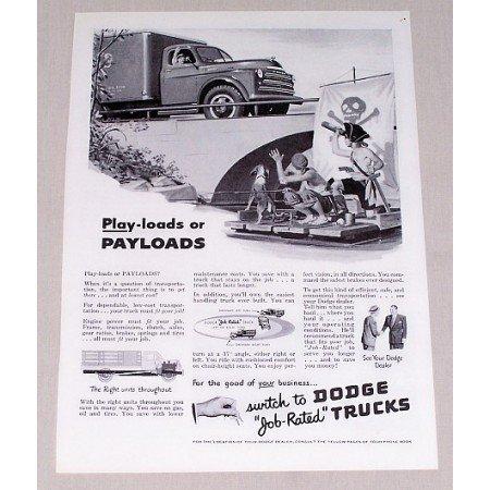 1949 Dodge Payload Truck Vintage Print Ad - Job Rated Trucks