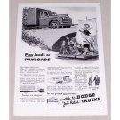 1949 Dodge Payload Truck Vintage Print Ad - Job Rated Trucks