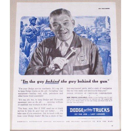 1945 Dodge Job Rated Trucks Vintage Print Ad - Guy Behind The Gun