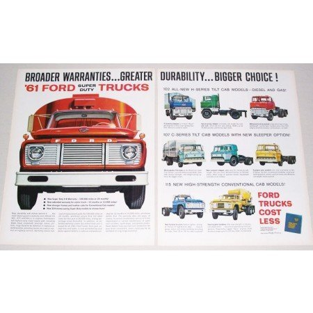 1961 Ford Super Duty Trucks 2 Page Color Print Ad