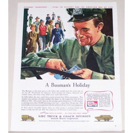 1944 GMC Truck Color Print Ad - Busman's Holiday