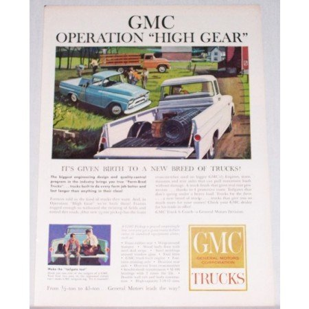1959 GMC Trucks Color Print Ad - Operation High Gear