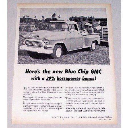 1957 GMC Blue Chip Pickup Truck Vintage Print Ad